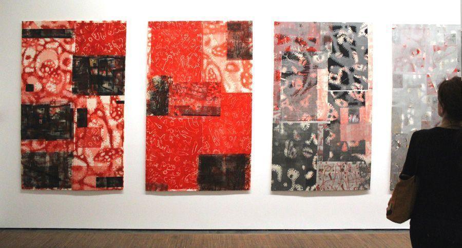 """Gunter Damisch, Installationsansicht mit Druckcollagen (2013) von Gunter Damisch """"MACRO. MICRO"""", Albertina 2013, Foto: Alexandra Matzner."""