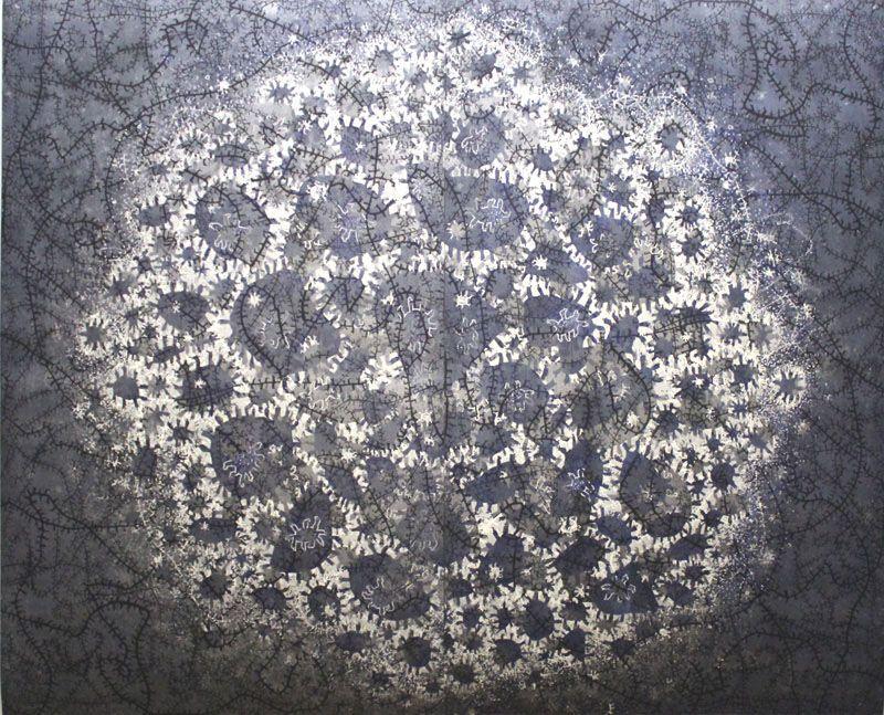 Gunter Damisch, Nachthimmel Weltflimmerzentrum, 199 x 242 cm, 2-teilig, Unikat, 2013, Foto: Alexandra Matzner.