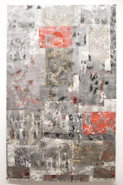 Gunter Damisch, Silberweltlochflämmlercollage, 197 x 122 cm, Holzschnitt und Collage, Unikat, 2011, Foto: Alexandra Matzner.