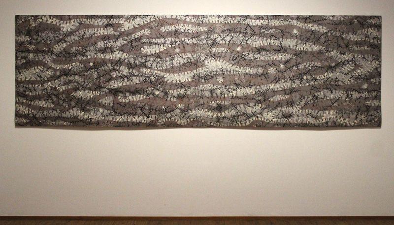 Gunter Damisch, Silberquerwegnetzfließen, Holzschnitt, 121 x 396 cm, 2-teilig, Unikat, GD/DU 61/2013, 2013, Foto: Alexandra Matzner.