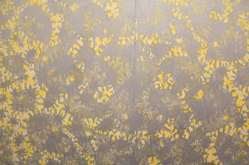 Gunter Damisch, Sonnensilber Weltflimmerzentrum, 199 x 242 cm, 2-teilig, Unikat, 2013, Foto: Alexandra Matzner.
