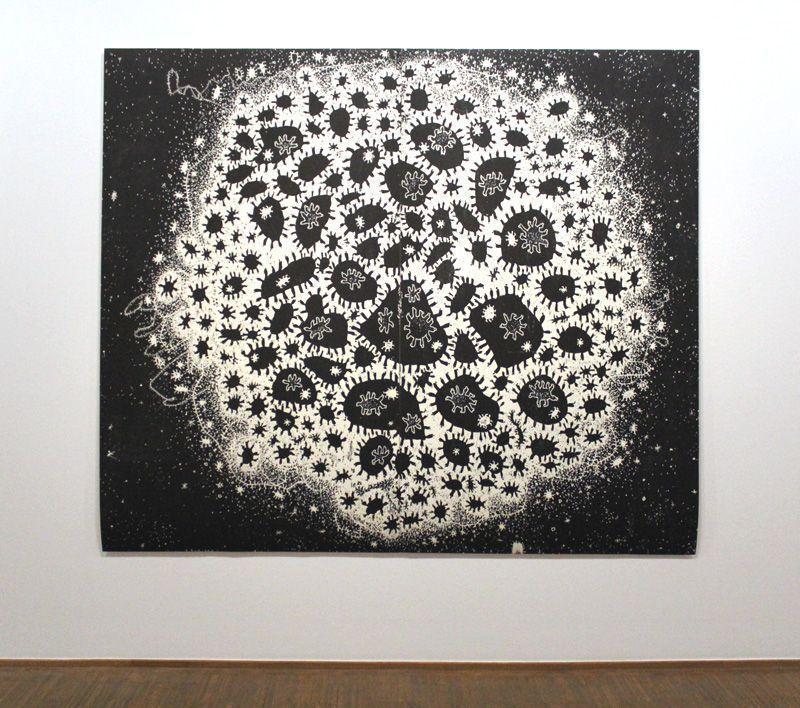 Gunter Damisch, Weltflimmerzentrum, Holzschnitt, 199 x 242 cm, 2013, Foto: Alexandra Matzner.