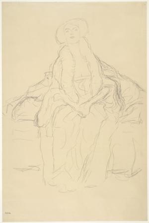 Gustav Klimt, Studie für das Bildnis Amalie Zuckerkandl (auf dem Sofa sitzend), 1914 © Albertina, Wien.