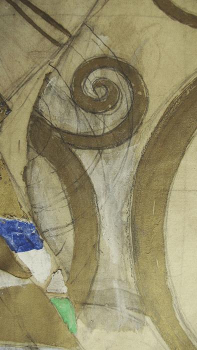 Gustav Klimt, Entwurfszeichnung für den Stoclet-Fries, Änderungen im Entwurf (Detail), 1910-11, © MAK/Beate Murr.