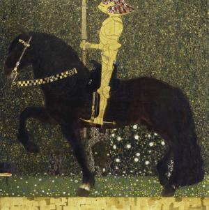 Gustav Klimt, Der goldene Ritter (Das Leben ist ein Kampf), 1903, Öl auf Leinwand, 103,5 x 103,7 cm, Aichi Prefectural Museum of Art, Nagoya.