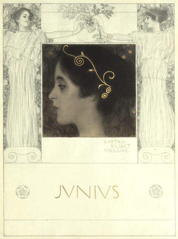 Gustav Klimt, Junius, 1896, Schwarze Kreide, Bleistift, laviert, Goldhöhung auf Papier © Wien Museum.