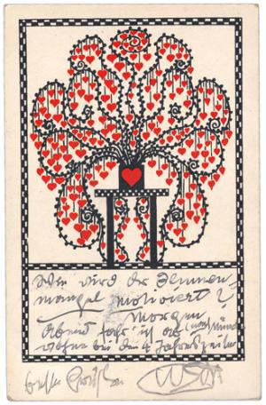 Postkarte der Wiener Werkstätte von Gustav Klimt in Wien an Emilie Flöge am Attersee, 07.07.1908, Farbdruck, schwarze Tinte auf Papier, 14,1 x 9 cm, Privatbesitz.
