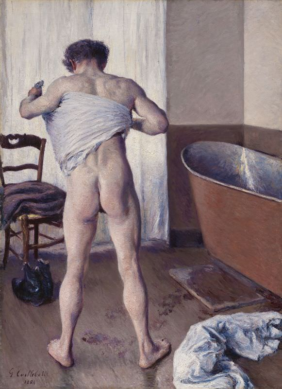 Gustave Caillebotte, Mann im Bad, 1884, Öl auf Leinwand, 144,8 × 114,3 cm (Museum of Fine Arts, Boston, Museum purchase with funds by exchange from an Anonymous gift, Bequest of William A. Coolidge, Juliana Cheney Edwards Collection, and from the Charles H. Bayley Picture and Painting Fund, Edward Jackson Holmes Fund, Fanny P. Mason Fund in memory of Alice Thevin, Arthur Gordon Tompkins Fund, Gift of Mrs. Samuel Parkman Oliver-Eliza R. Oliver Fund, Sophie F. Friedman Fund, Robert M. Rosenberg Family Fund, and funds donated in honor of George T. M. Shackelford, Chair, Art of Europe, and Arthur K. Solomon Curator of Modern Art, 1996-2011).