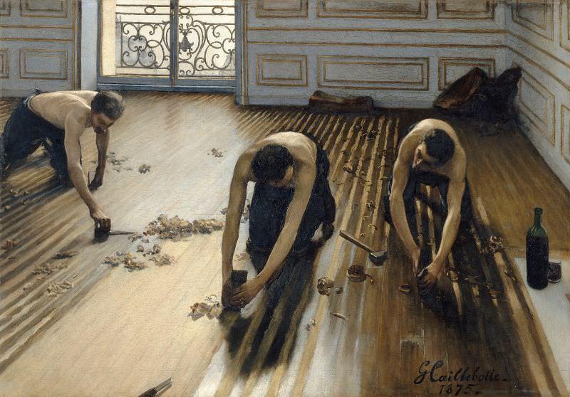 Gustave Caillebotte, Die Parkettschleifer, 1875, Öl auf Leinwand, 102 × 147 cm (Musée d'Orsay, Paris, Gift of Caillebotte's heirs through the intermediary of Auguste Renoir, 1894).