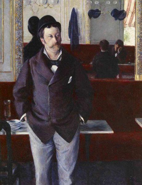 Gustave Caillebotte, Im Café, 1880, Öl auf Leinwand, 156 × 114 cm (Musée d'Orsay, Paris, on deposit at musée des Beaux-arts de Rouen).
