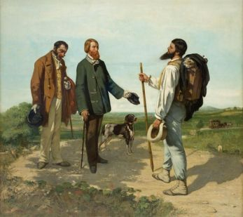 Gustave Courbet, Die Begegnung (Guten Tag, Monsieur Courbet), 1954, Öl auf Leinwand, 132,4 x 151 cm, Musée Fabre, Montpellier Agglomération © Musée Fabre, Montpellier Agglomération / Frédéric Jaulmes.