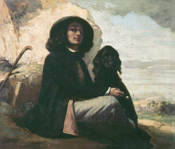 Gustave Courbet, Selbstbildnis mit schwarzem Hund, Öl auf Leinwand, 46,5 x 55,5 cm, Petit Palais, Musée des Beaux-Arts de la Ville de Paris © bpk / RMN – Grand Palais / Jacques L'Hoir / Jean Popovich.