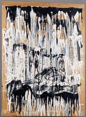 """Hans Weigand, 666 (""""Nudelbrett""""), 1972, Mischtechnik auf Holz, 117 × 87 cm, Courtesy der Künstler."""