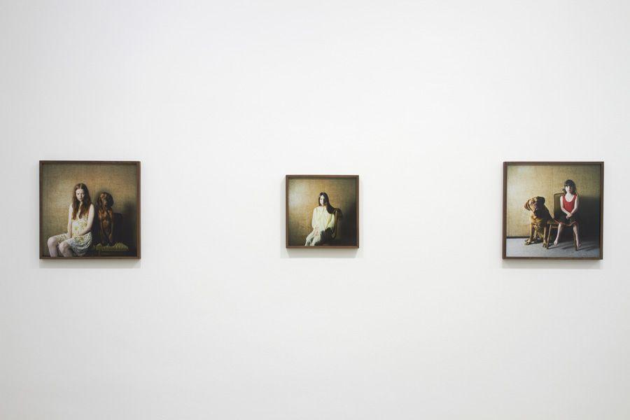 """Installationsansicht """"Hellen van Meene. Portraits"""" (Mädchen mit ihren Hunden) in der Galerie OstLicht, 13.4.-9.6.2013, Wien, Fotos: Michael Kollmann / Galerie OstLicht."""