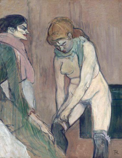 Henri de Toulouse-Lautrec, Femme tirant son bas, 1894, Öl auf Leinwand , 58 x 46 cm. Musée d'Orsay, Paris © bpk | RMN - Grand Palais | Hervé Lewandowski.