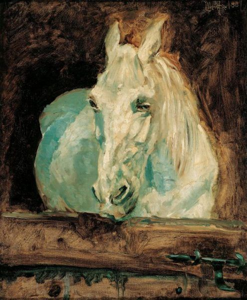 """Henri de Toulouse-Lautrec, Der Schimmel """"Gazelle"""", 1881 (Albertina, Wien, Sammlung Batliner)."""