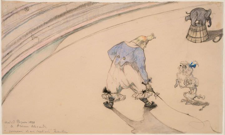 Henri de Toulouse-Lautrec, Im Zirkus: Clown Footit – Dresseur, 1899 (Statens Museum for Kunst, Kopenhagen © SMK Photo)