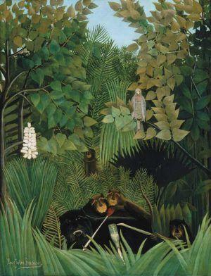 Henri Rousseau, Spaßvögel, um 1906, Öl auf Leinwand, 145,8 x 113,4 cm (Philadelphia Museum of Art)