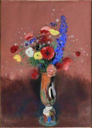 Odilon Redon (Bordeaux 1840–1916 Paris), Wiesenblumen in einer Vase mit langem Hals, um 1912, Pastell auf Papier, 57 x 35 cm, Paris, Musée d'Orsay © RMN-Grand Palais (Musée d'Orsay)/Hervé Lewandowski.