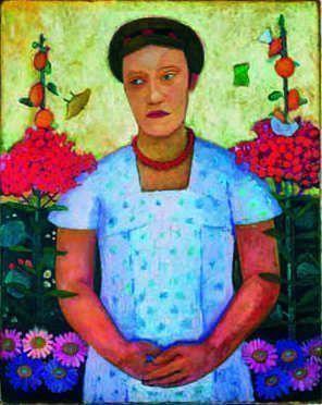Paula Modersohn-Becker (Dresden 1876–1907 Worpswede), Bildnis Lee Hötger vor Blumengrund, 1906, Öl auf Leinwand, 92,4 x 73,6 cm, Bremen, Museen Böttcherstraße, Paula Modersohn-Becker Museum.