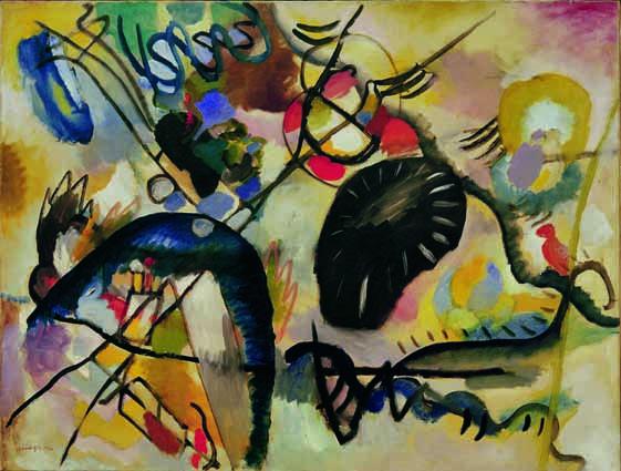 Wassily Kandinsky (Moskau 1866–1944 Neully-sur- Seine, Paris), Schwarzer Fleck I, 1912, Öl auf Leinwand, 100 x 130 cm, Sankt Petersburg, The State Russian Museum © Mondadori Portfolio/AKG Images.