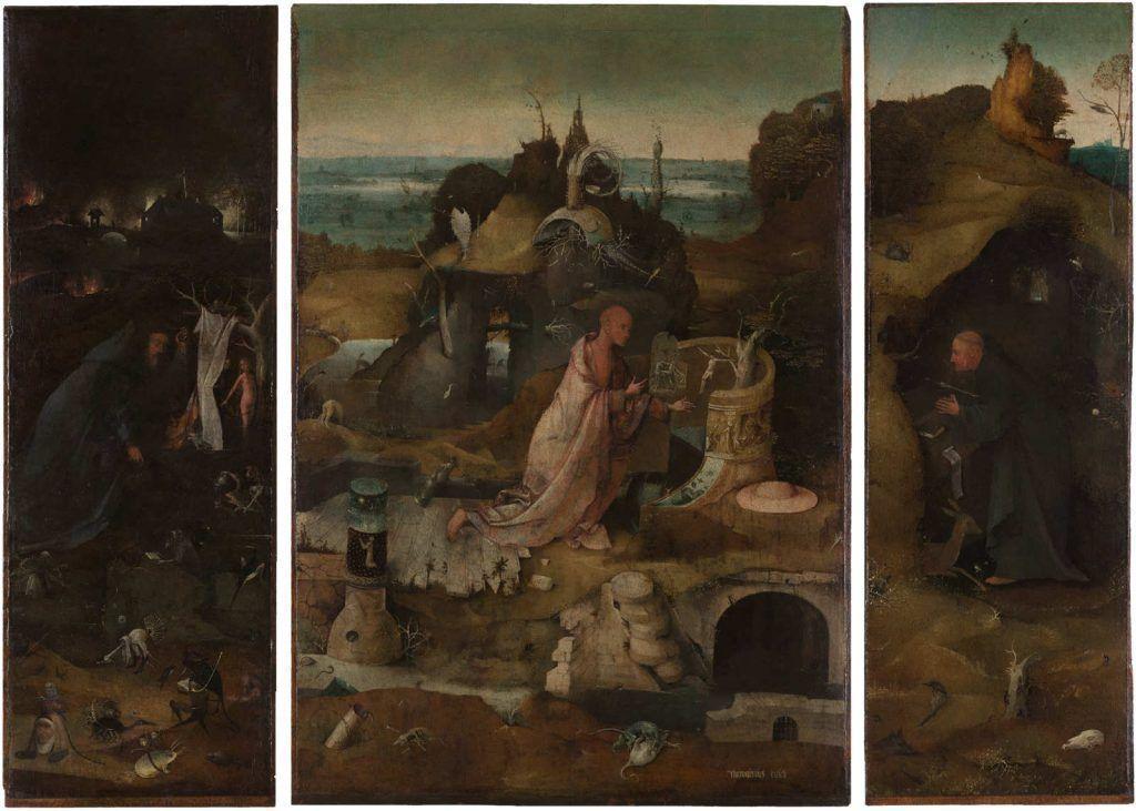 Hieronymus Bosch, Eremiten-Triptychon, um 1495–1505, Öl auf Eichenholz, linker Flügel 85,4 x 29,2 cm; Mitteltafel 85,7 x 60 cm; rechter Flügel 85,7 x 28,9 cm (Gallerie dell'Accademia, Venedig)