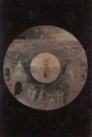 Hieronymus Bosch, Johannes Evangelista auf Patmos / Die Passion Christi, 1490–1495, Öl auf Eichenholz, 63 x 43.2 cm (Staatliche Museen zu Berlin, Gemäldegalerie, Berlin)