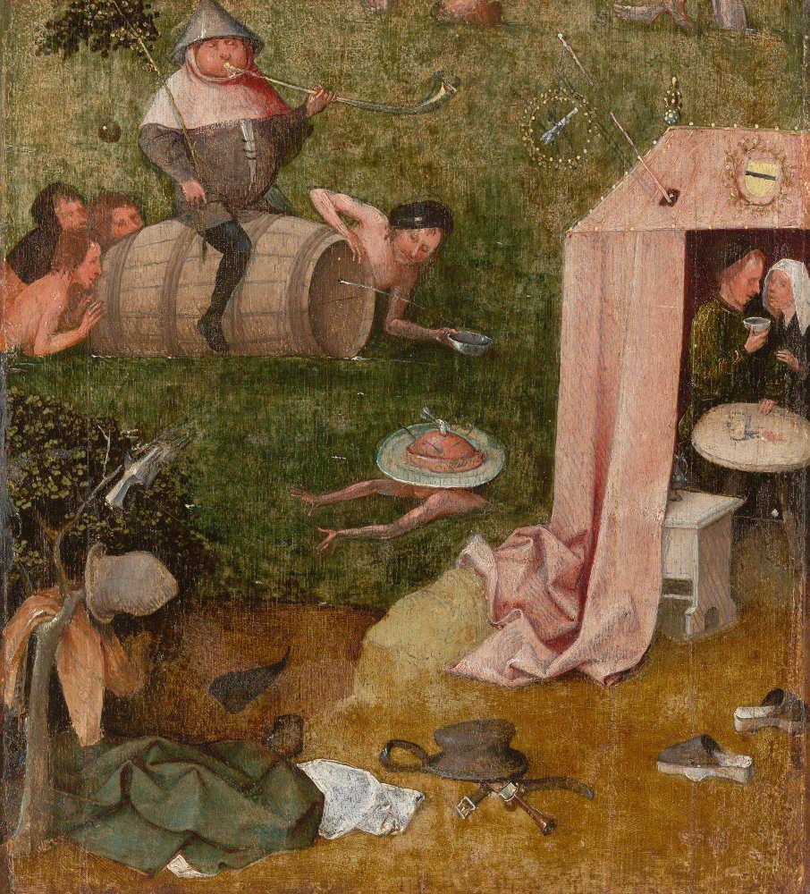Hieronymus Bosch, Völlerei und Lust (Fragment von Das Narrenschiff), Öl auf Eichenholz, 34,9 x 30,6 cm (Yale University Art Gallery, Gift of Hannah D. and Louis M. Rabinovitz, New Haven, Inv.-Nr. 1959.15.22)