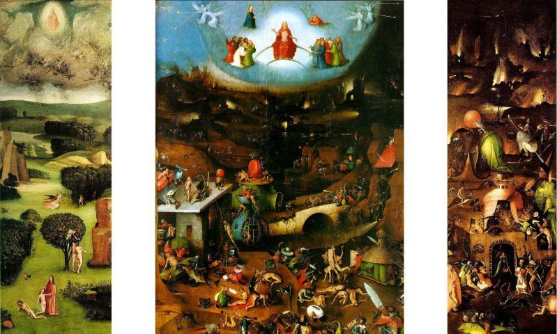 Hieronymus Bosch mit Werkstatt, Das Jüngste Gericht, Weltgerichtstriptychon, um 1500–1505 Öl auf Eichenholz, linker Flügel 163 x 60 cm; Mitteltafel 163 x 127 cm; rechter Flügel 163 x 60 cm (Gemäldegalerie der Akademie der bildenden Künste, Wien, Inv.-Nr. gg-579–gg-581)