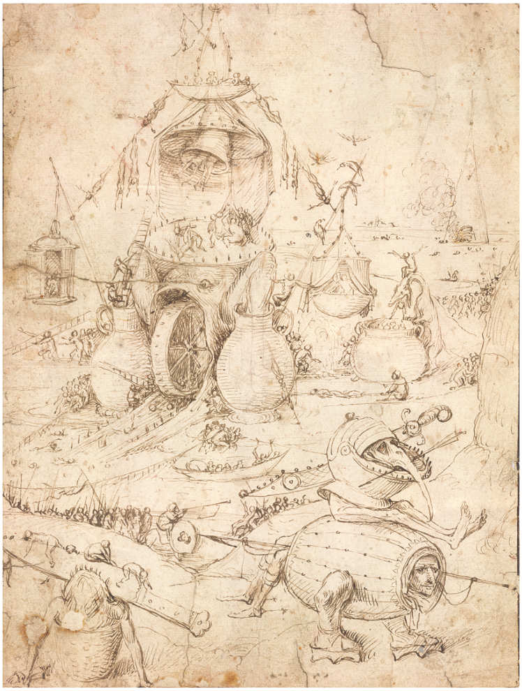 Hieronymus Bosch, Höllenlandschaft, Feder mit brauner Tusche auf Papier; rote Tusche im rechten Auge des Monsters mit dem Helm, 25,9 x 19,7 cm (Privatsammlung)