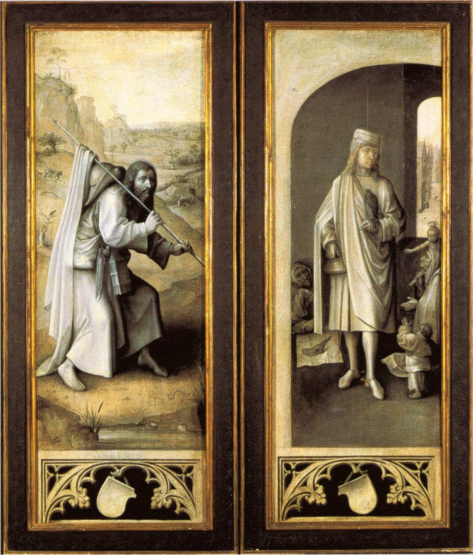 Hieronymus Bosch mit Werkstatt, Das Jüngste Gericht, Triptychon, um 1500–1505 Öl auf Eichenholz, linker Flügel 163 x 60 cm; Mitteltafel 163 x 127 cm; rechter Flügel 163 x 60 cm (Gemäldegalerie der Akademie der bildenden Künste, Wien, Inv.-Nr. gg-579–gg-581)