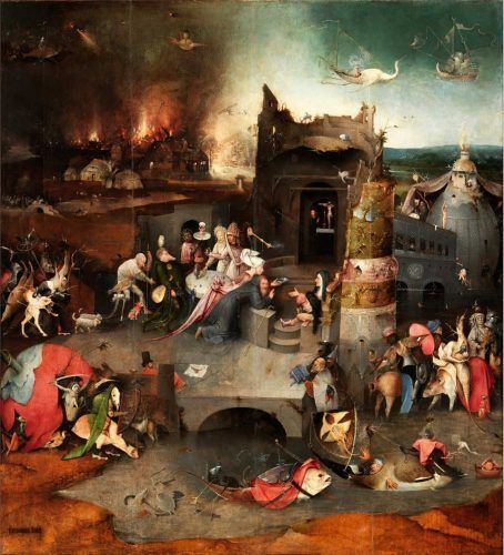 Hieronymus Bosch, Die Versuchung des hl. Antonius, Mitteltafel, um 1500–1505, Öl auf Holz, 131.5 x 111.9 cm (Museu Nacional de Arte Antiga, Lissabon)