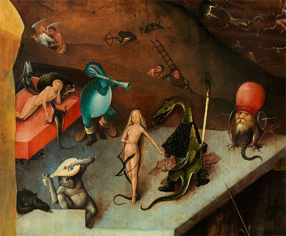 Hieronymus Bosch, Weltgerichtstriptychon, Öltempera auf Holz, Mitteltafel (Gemäldegalerie der Akademie der bildenden Künste, Wien, Inv.-Nr. GG-579-580)