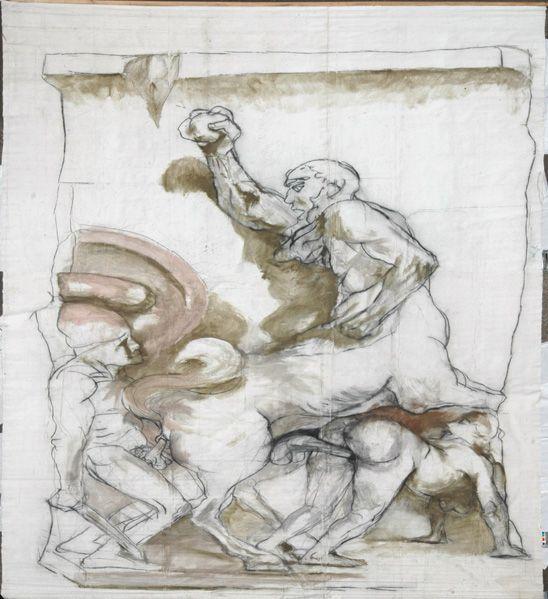 Alfred Hrdlicka, Bühnenbild Faust II, Bonn 1982: Antikenporno (Ausschnitt Kentaur – Steinwurf), 1982, Kohle, Tempera auf Belgischer Leinwand, 8,2 x 5,17 m © Galerie Hilger.