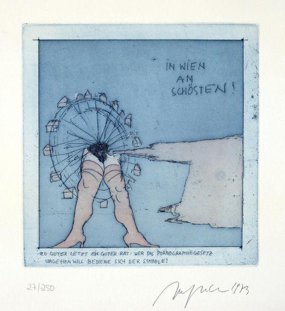 Alfred Hrdlicka, In Wien am schönsten! Aus: Wiener Blut, 1973, Farbradierung, 24,2 x 24 cm; Foto: © Markus Krottendorfer.