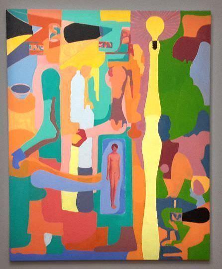 Hubert Schmalix, Abend, zuhause, 1994, Öl auf Leinwand, 244 x 198 cm, Sammlung Essl, Klosterneuburg/Wien, Foto: Alexandra Matzner.