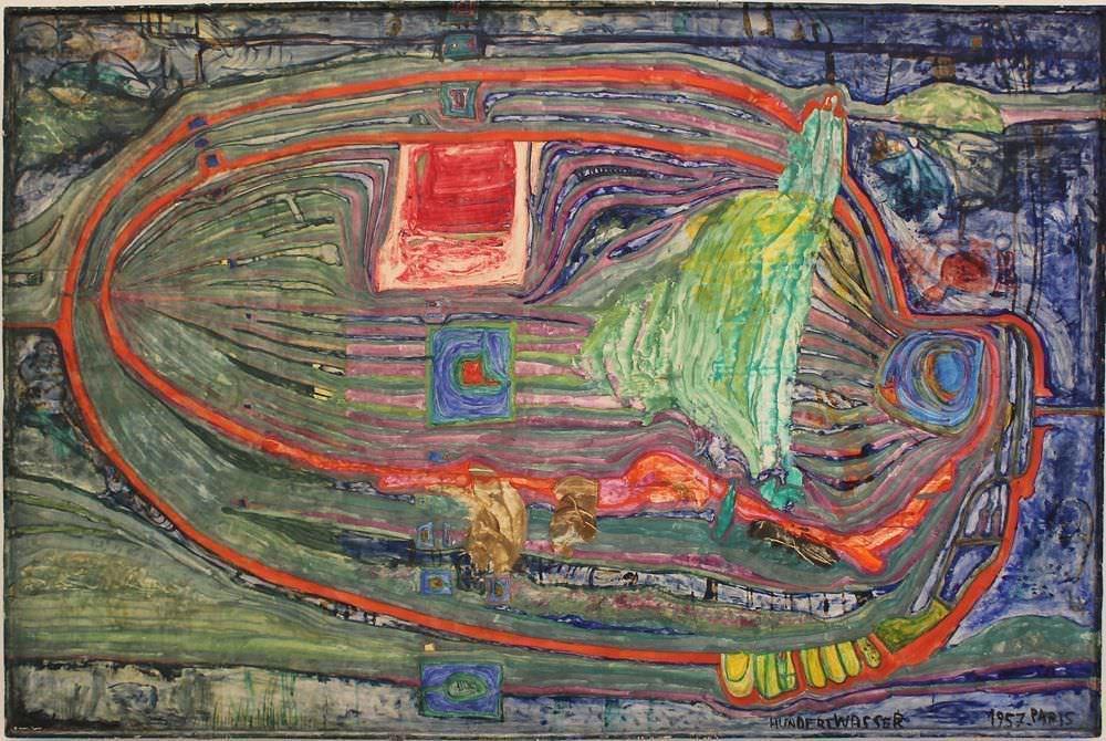 """Friedensreich Hundertwasser, 311 Das Ei des alten präkolumbianischen Japan, 1957, Privatsammlung, Ausstellungsansicht """"Hundertwasser, Japan und die Avantgarde"""", Belvedere, Orangerie, 6.3.-30.6.2013, Foto: Alexandra Matzner."""