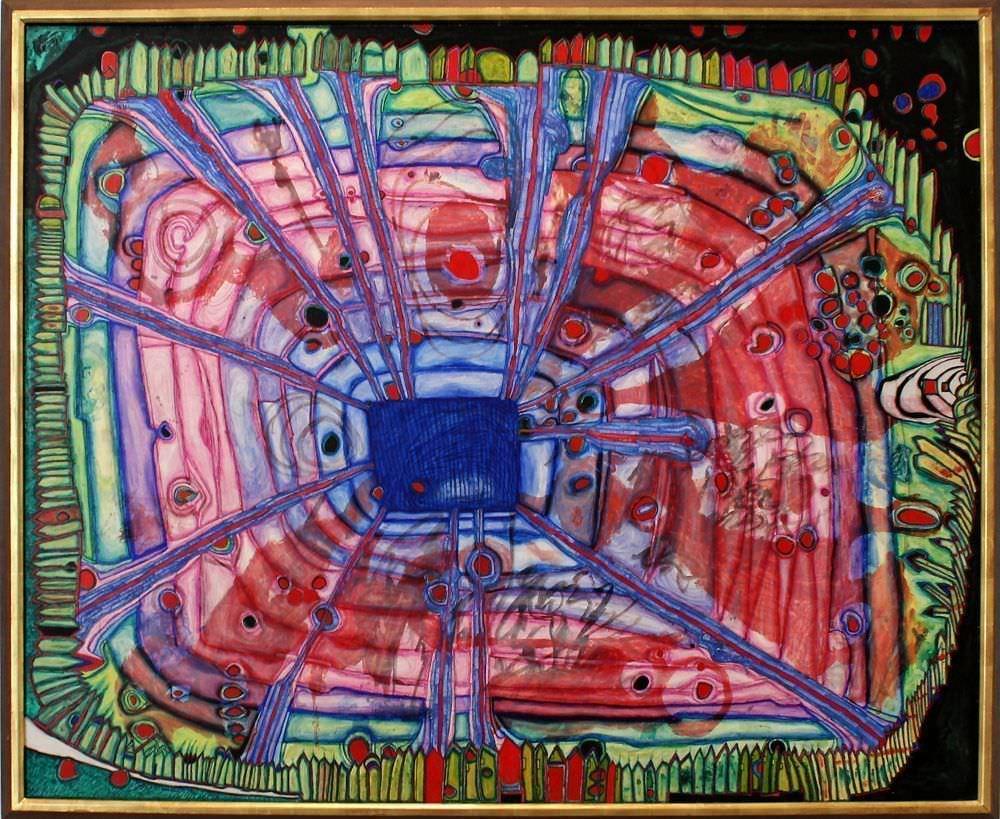 """Friedensreich Hundertwasser, 475 Blutregen tropft in japanisches Wasser, das in einem österreichischen Garten liegt, 1961, Sammlung Würth, Ausstellungsansicht """"Hundertwasser, Japan und die Avantgarde"""", Belvedere, Orangerie, 6.3.-30.6.2013, Foto: Alexandra Matzner."""