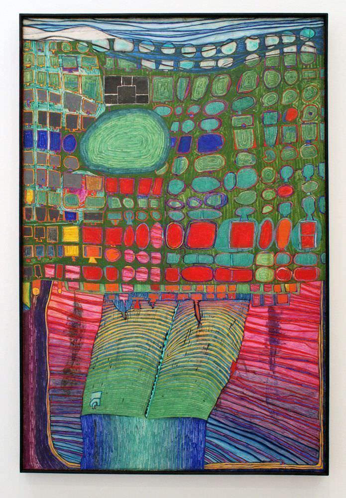 """Friedensreich Hundertwasser, 556 Dampferteil, 1963, Hilti Art Foundation, Schaan, Liechtenstein, Ausstellungsansicht """"Hundertwasser, Japan und die Avantgarde"""", Belvedere, Orangerie, 6.3.-30.6.2013, Foto: Alexandra Matzner."""