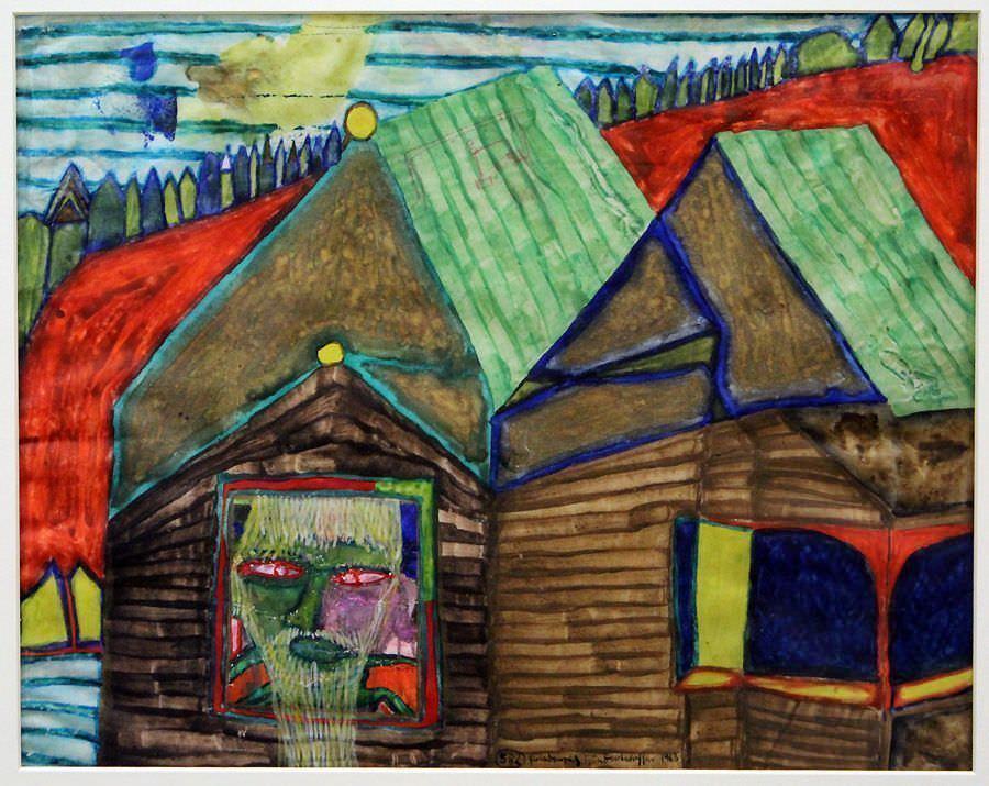 """Friedensreich Hundertwasser, 582 Ho-Chi-Minh träumt von Österreich/Das imaginäre Haus, 1963, Privatsammlung, Ausstellungsansicht """"Hundertwasser, Japan und die Avantgarde"""", Belvedere, Orangerie, 6.3.-30.6.2013, Foto: Alexandra Matzner."""