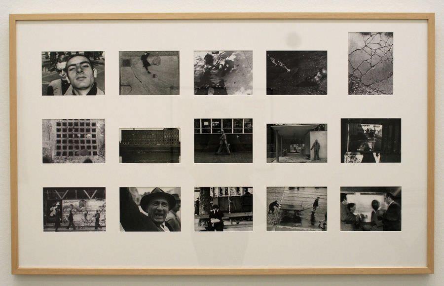 """Friedensreich Hundertwasser, Fotoabzüge aus der Mappe: Photographiert von Hundertwasser - Die Werte der Straße, um 1952, Ausstellungsansicht """"Hundertwasser, Japan und die Avantgarde"""", Belvedere, Orangerie, 6.3.-30.6.2013, Foto: Alexandra Matzner."""