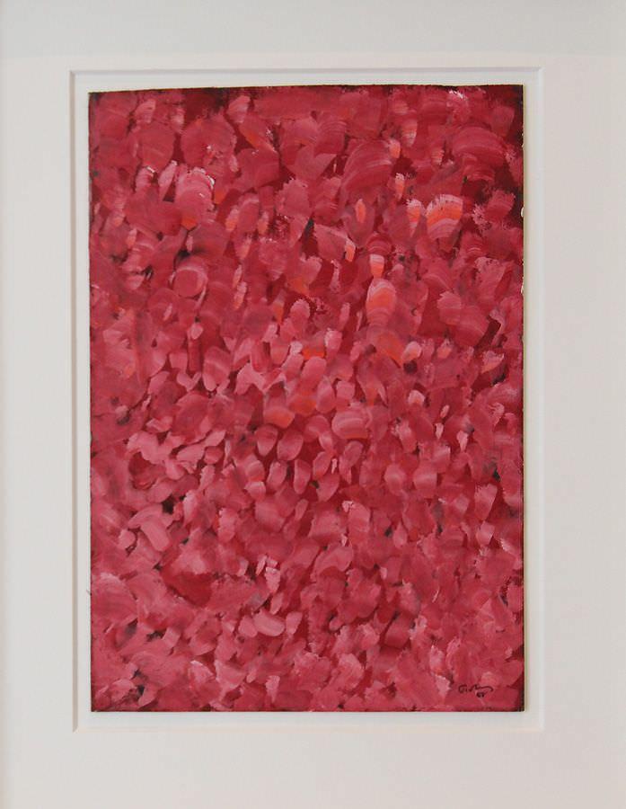 """Mark Tobey, Red Gardens, 1958, Privatsammlung, Wien, Ausstellungsansicht """"Hundertwasser, Japan und die Avantgarde"""", Belvedere, Orangerie, 6.3.-30.6.2013, Foto: Alexandra Matzner."""