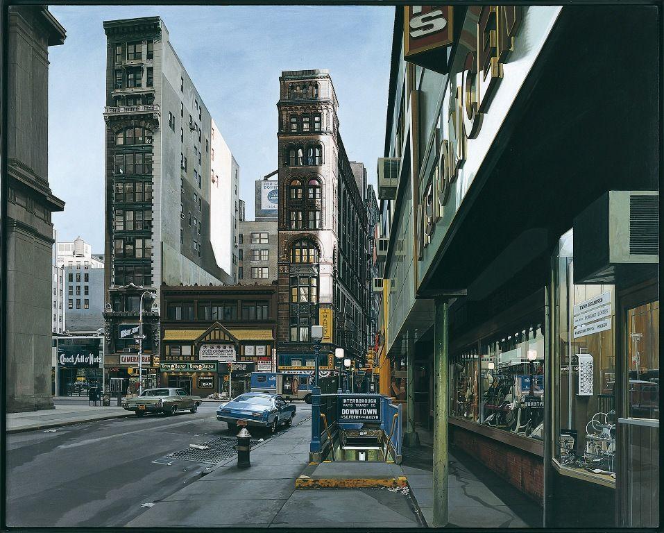 Richard Estes, Downtown, 1969, Öl auf Leinwand, 122 x 152 cm, Sammlung MUMOK, Foto MUMOK © Richard Estes.