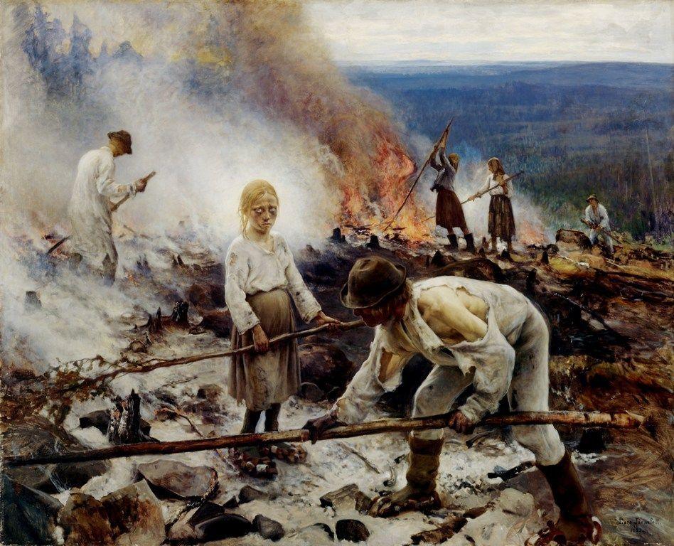 Eero Järnefelt (1863–1937) Under the Yoke, Burning the Brushwood, 1893 (Helsinki, Ateneum).