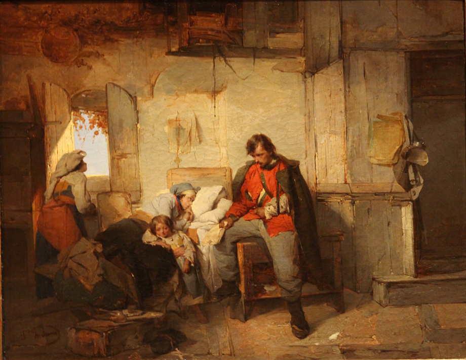 Domenico Induno, Heimkehr des verwundeten Soldaten, 1854, Öl auf Leinwand, 42,4 × 53 cm, Bez. u. l.: D.o Induno (Fondazione Cariplo, Iniziative Patrimoniali S.p.A, Mailand, Inv.-Nr. FCIP 0039)
