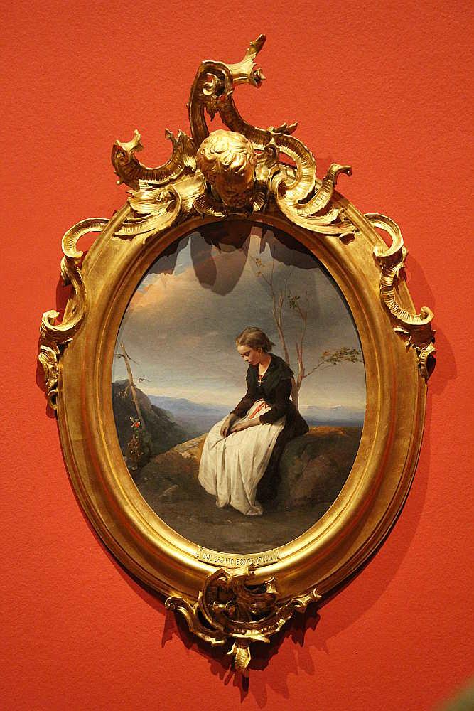 Domenico Induno, Melancholie, um 1849, Öl auf Leinwand, 55 × 42,5 cm, Bez. u. l.: D. (Induno Civico Museo Revoltella – Galleria d'arte moderna, Triest, Inv.-Nr. 247)