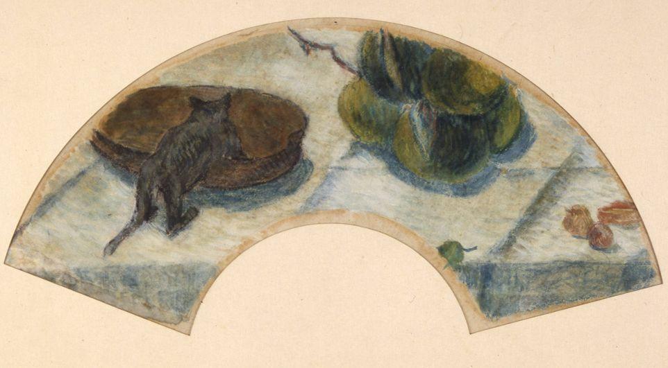 Paul Gauguin, Kleine Katze an einer Schüssel, 1888, Gouache auf Papier, 20 x 42,5 cm, Privatsammlung © Foto: Leihgeber.