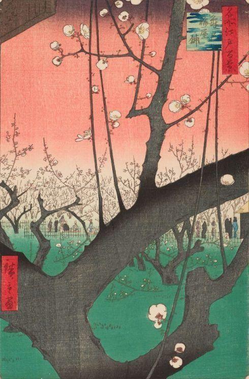 Utagawa Hiroshige, Meisho Edo hyakkei, 1857, Der Pflaumengarten von Kameido, Kameido Umeyashiki aus der Serie Hundert berühmte Ansichten von Edo, Mehrfarbiger Holzschnitt (nishiki-e), 34 x 22,5 cm (ôban), Privatsammlung © Foto: Museum Folkwang