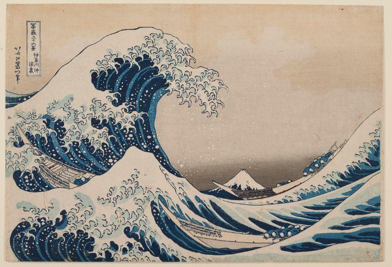 Katsushika Hokusai, Kanagawa Oki Nami, Fugaku sanjûrokkei, um 1831, Die große Welle vor der Küste bei Kanagawa, Aus der Serie: Sechsunddreißig Ansichten des Berges Fuji, Mehrfarbiger Holzschnitt (nishiki-e), 25,2 x 37,6 cm (ôban), Privatsammlung © Foto: Museum Folkwang.