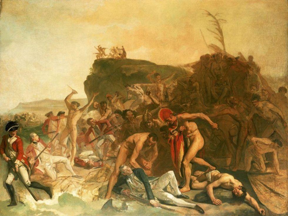 Johann Joseph Zoffany (1733—1810), Der Tod des Captain Cook am 14. Februar 1779, London, begonnen 1789 (?), Öl auf Leinwand, 137,2 x 182,9 cm © National Maritime Museum, London, Greenwich Hospital Collection.